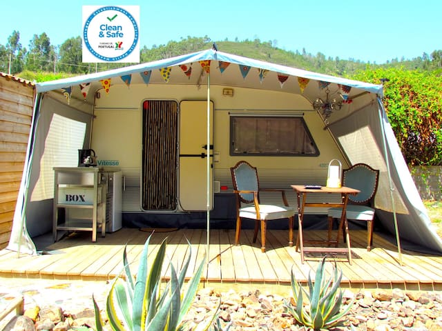 Glamping on a secluded stream in nature