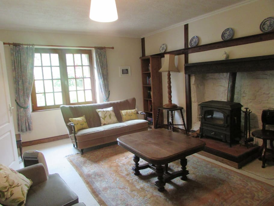 French style country lounge with woodburner