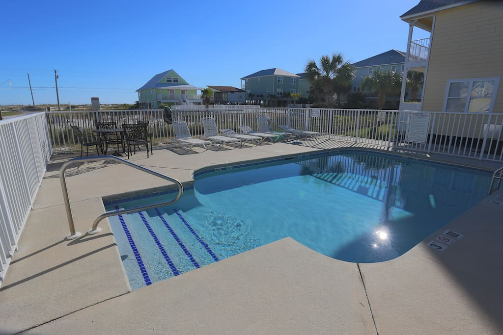 The quiet Three C's community includes a shared pool.