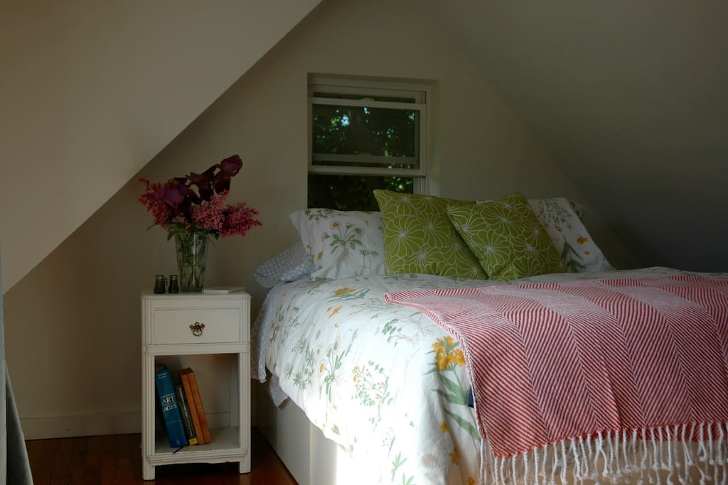 Cozy loft bedroom with queen bed with memory foam