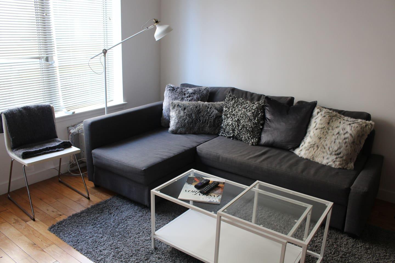 Gorgeous living room with hardwood floors