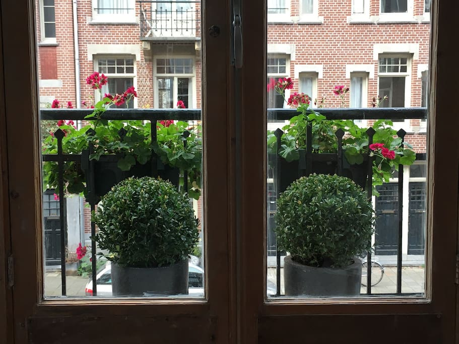 Charming Juliet balcony off the living room (one of three balconies!).