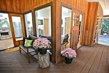 Deck and outdoor sitting area.
