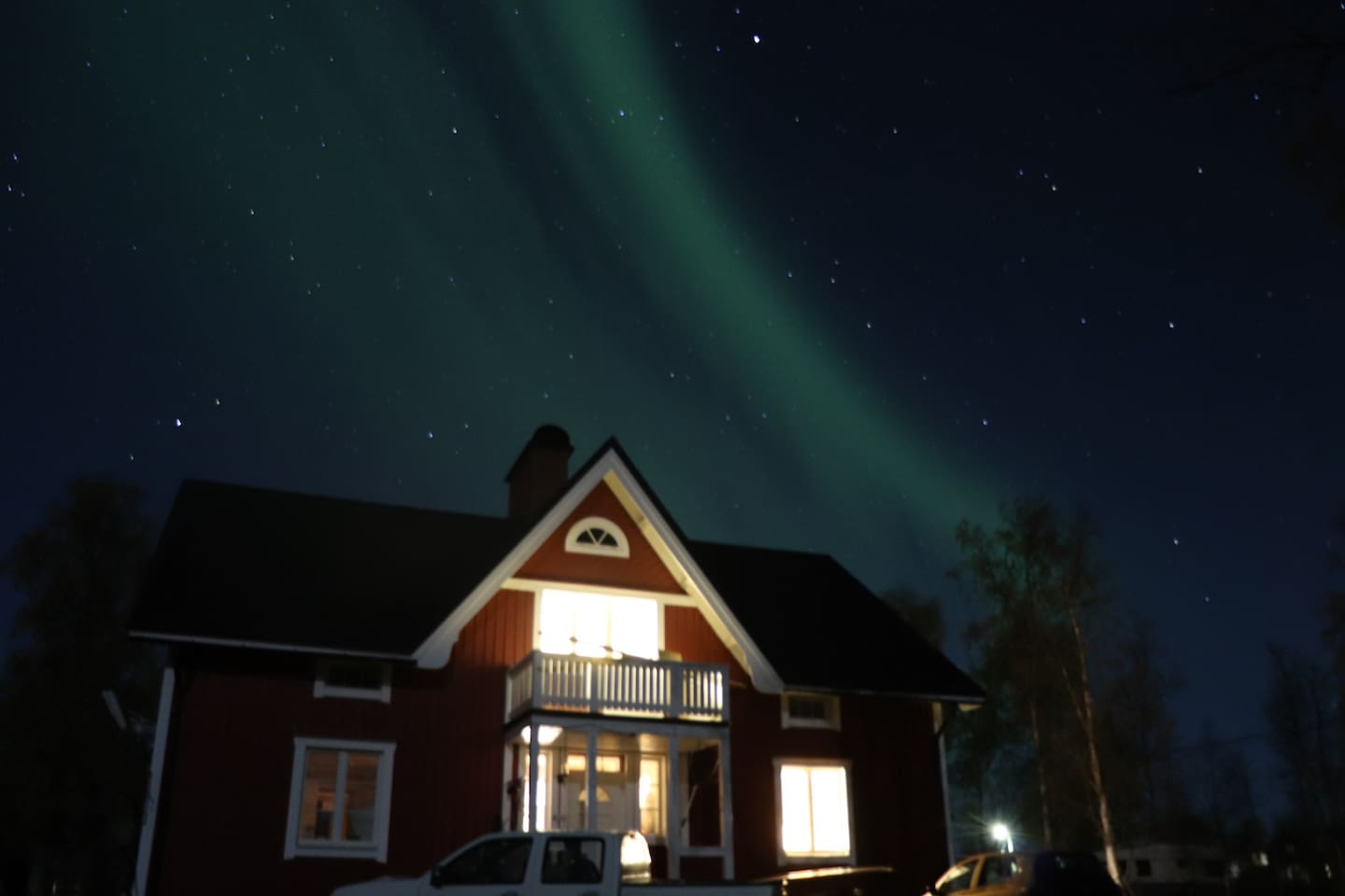 Northern lights above the main house