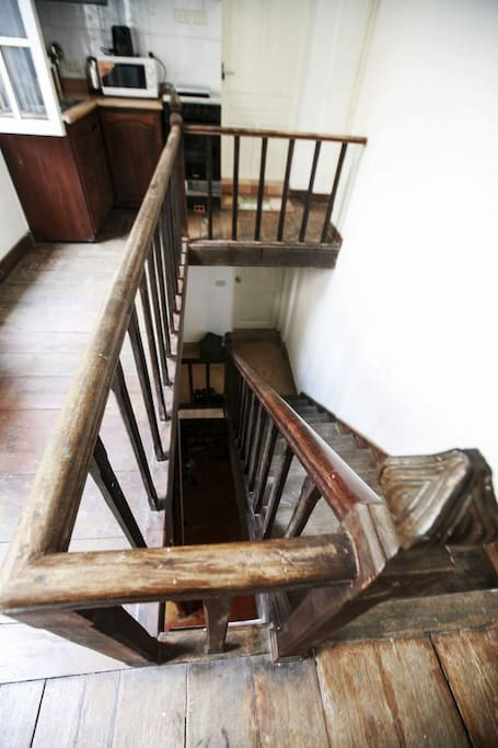 Old French Mansion's typical wooden stairs