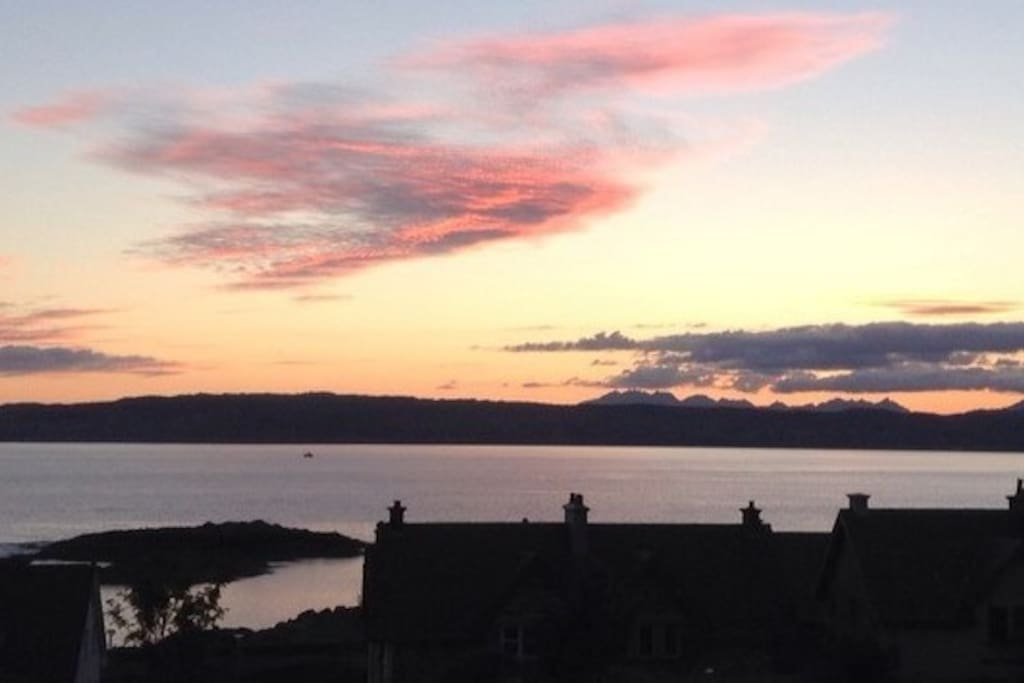 Sunset views over to the Isle of Skye