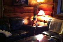 Comfy leather couches.