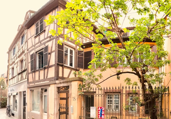 My apartment is located in a quiet pedestrian street, at the top of a lovely historic building in the heart of Strasbourg's old city.