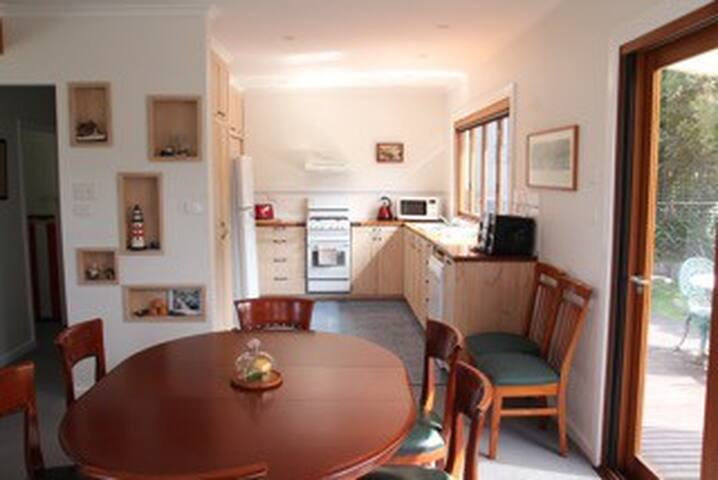 Family kitchen and dining space.