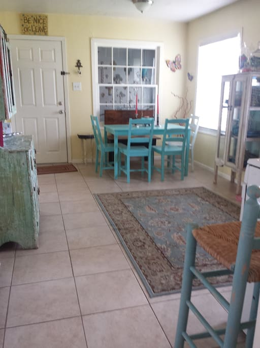 Big open kitchen with plenty of seating, gas stove, dishwasher, all the necessities