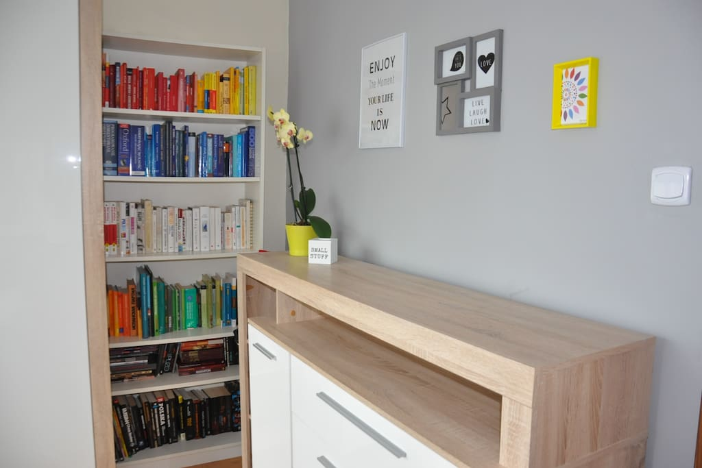 small library with guidebooks