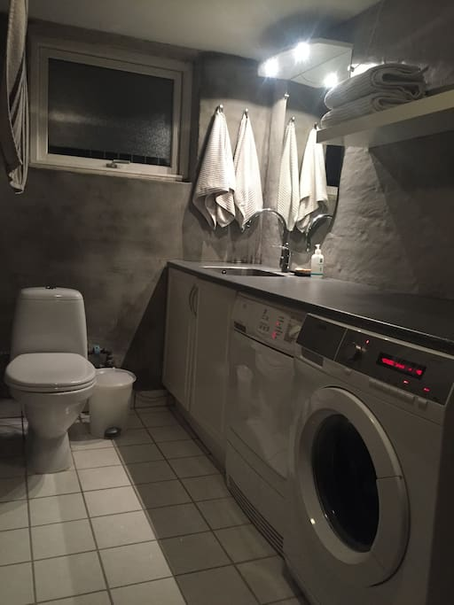 Own bathroom with washer and dryer