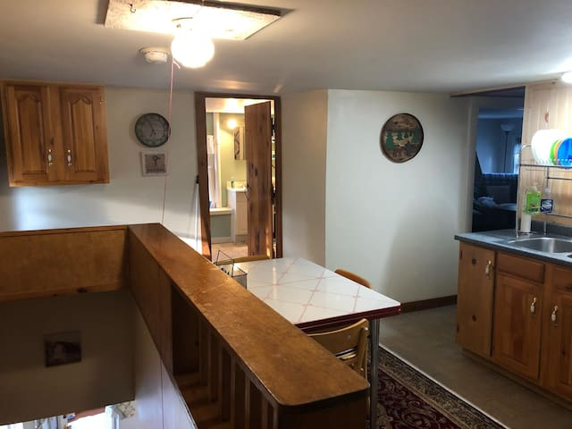This is the kitchen at the top of the stairs