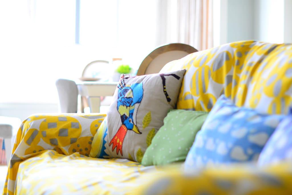 新买的沙发巾,可以方便清洗污渍