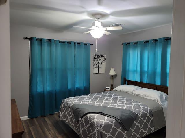 Bedroom 1, queen size bed.