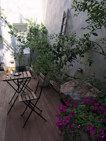 sitting in the backyard