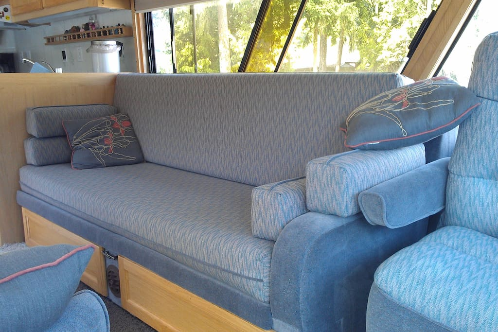 This couch folds out to a comfortable bed (no springs)