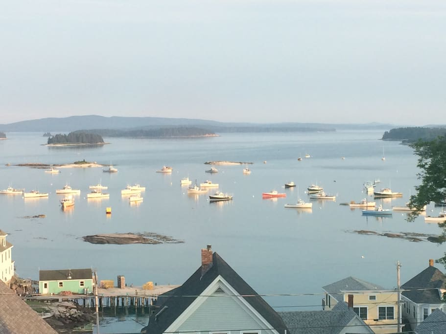 The view of Stonington harbor from the front yard of the cottage.