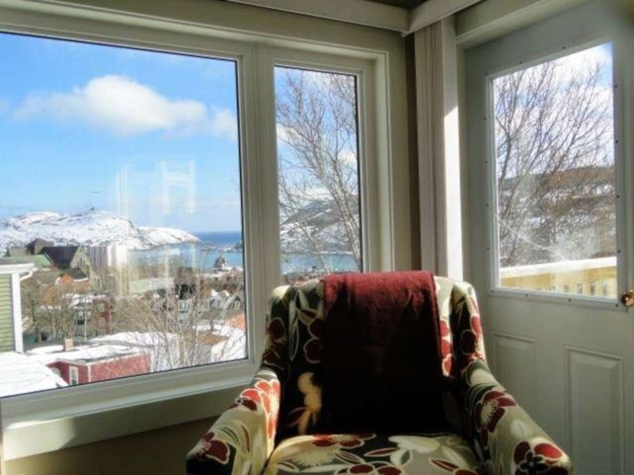 Downtown St. John's in winter, view from couch in living room.