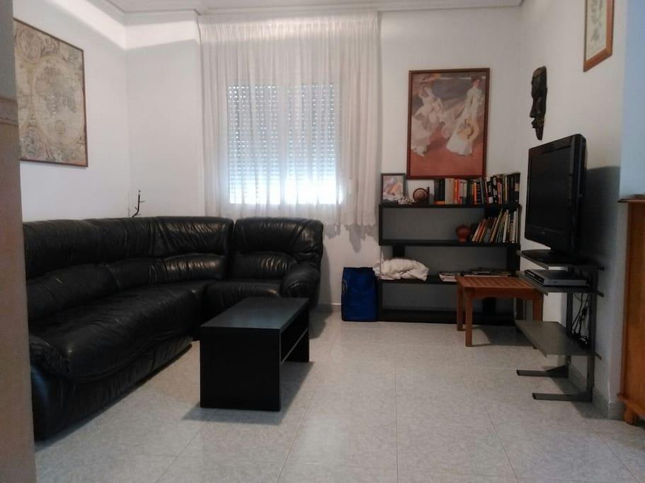 Sofa de piel de 6 plazas y television de plasma