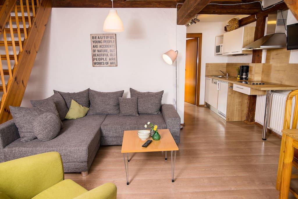 Beispiel für Wohn- und Küchenbereich Wohnung Typ C