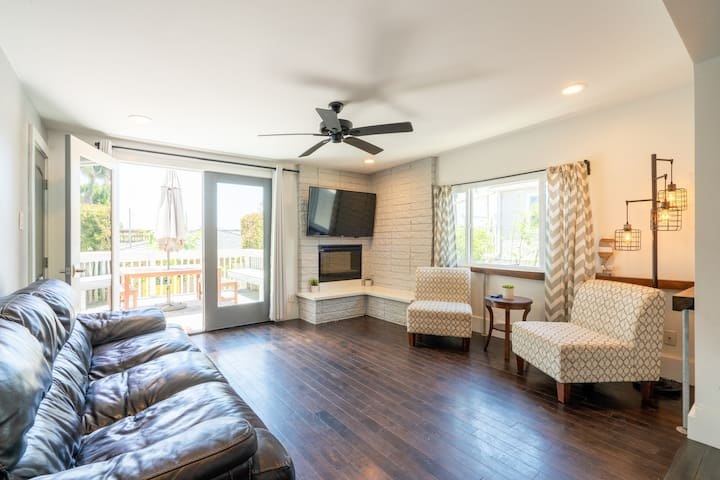 This living room downstairs is perfect for hanging out and relaxing