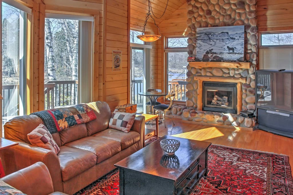 Cozy up next to the gas fireplace on cold winter days.