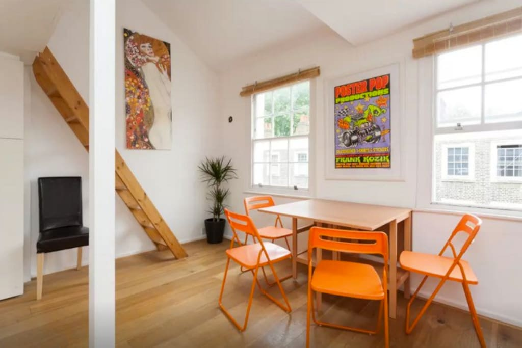 Dining area with fold away chairs - seats 4 comfortably