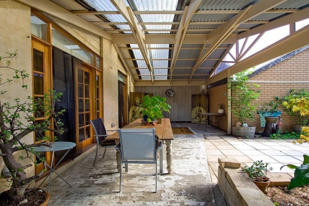 The pergola outside is great for sitting at breakfast time or with a glass of wine in the evening.