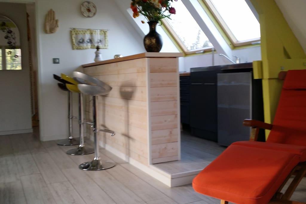 Espace commun avec bar !