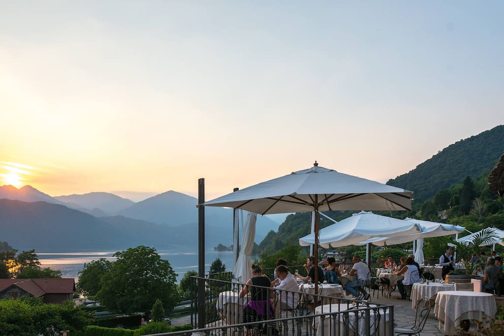 terrace lake view at Ristorante Bocciolo Orta