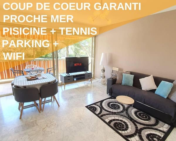 2P Neuf, Piscine, 5 Min Mer, Tennis, Wifi Parking