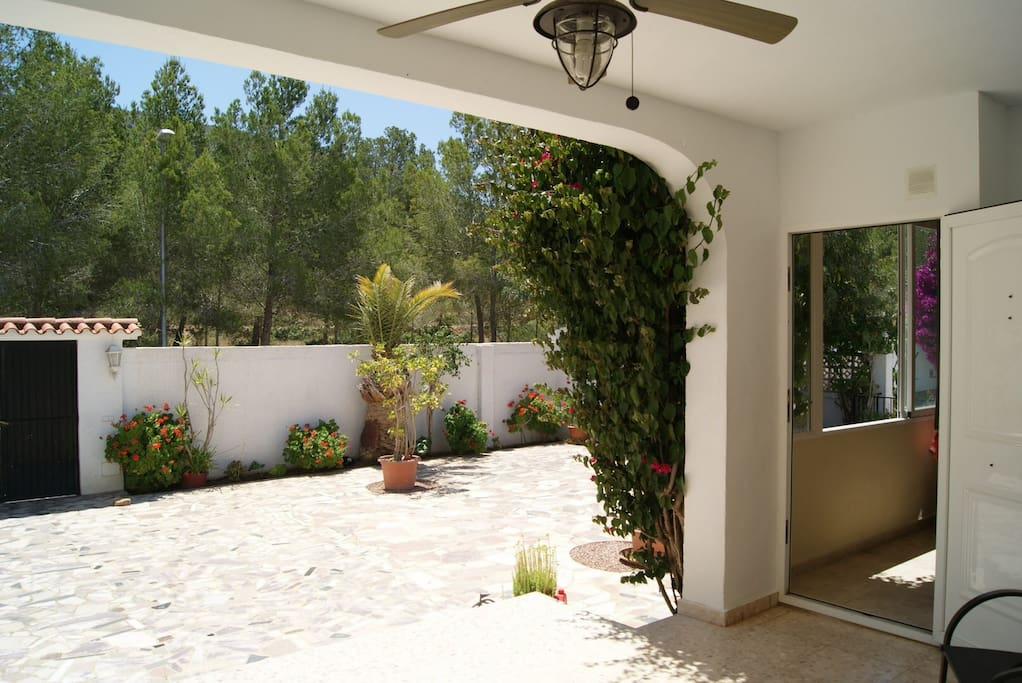 View from the front porch, with a side entrance to the kitchen.