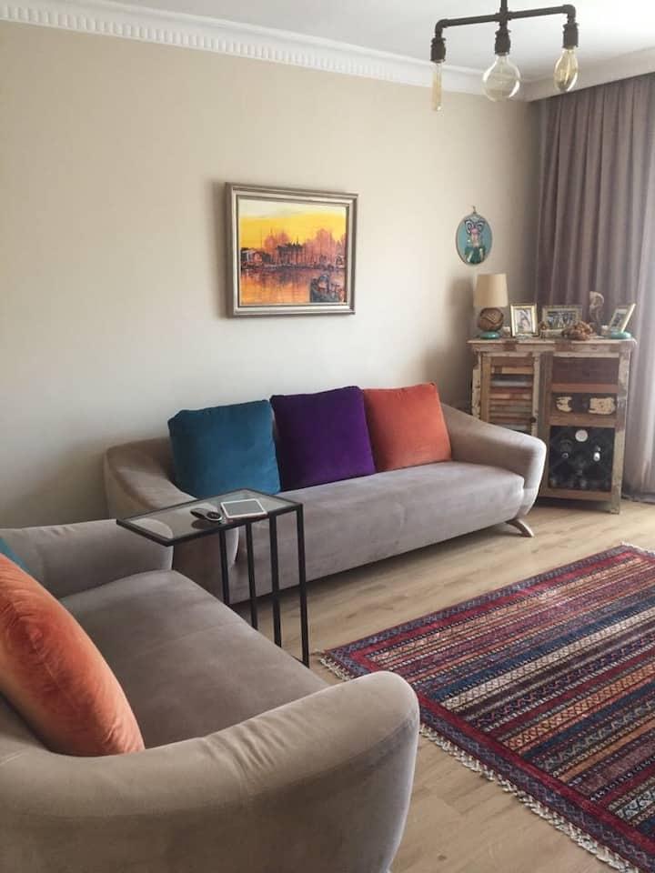 Comfy room in a duplex flat.