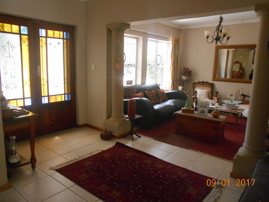 Front door and living room.