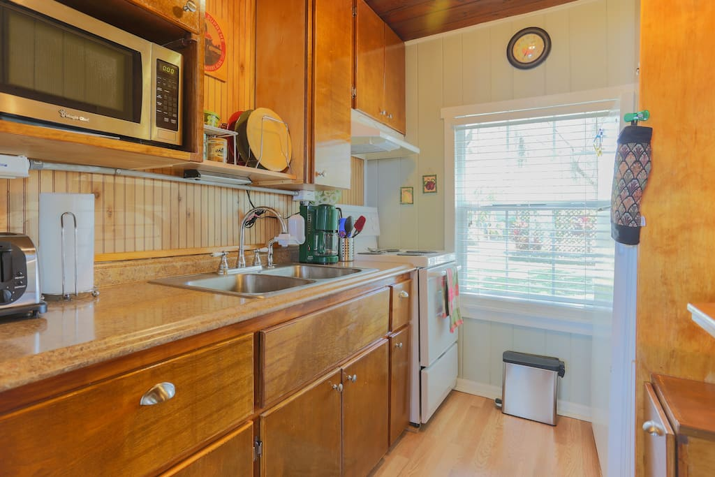 This is the kitchen- It's not big, but there is everything that you need to prepare a meal comfortably. The appliances are fairly new.
