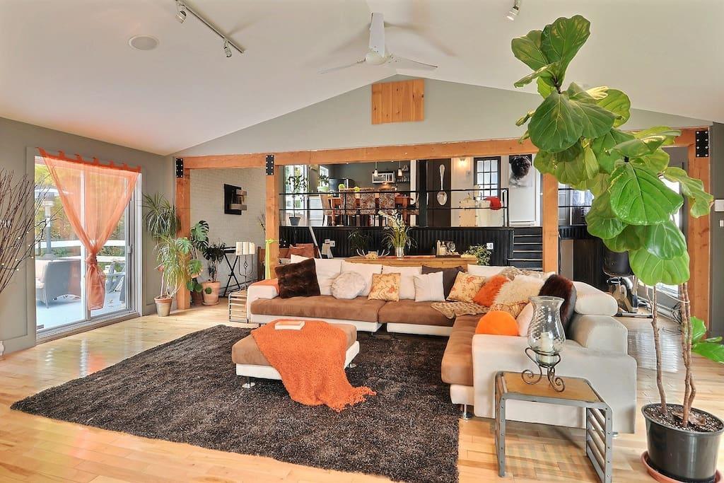 Maison à aire ouverte. Salon donne accès à grande terrasse.
