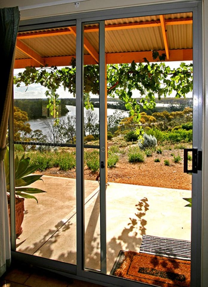 The view from the side front of the house overlooking the magnificent Murray River