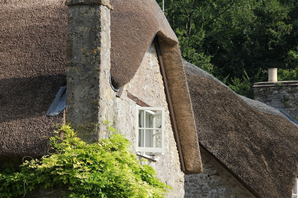 Pretty thatched roof over your bedroom window