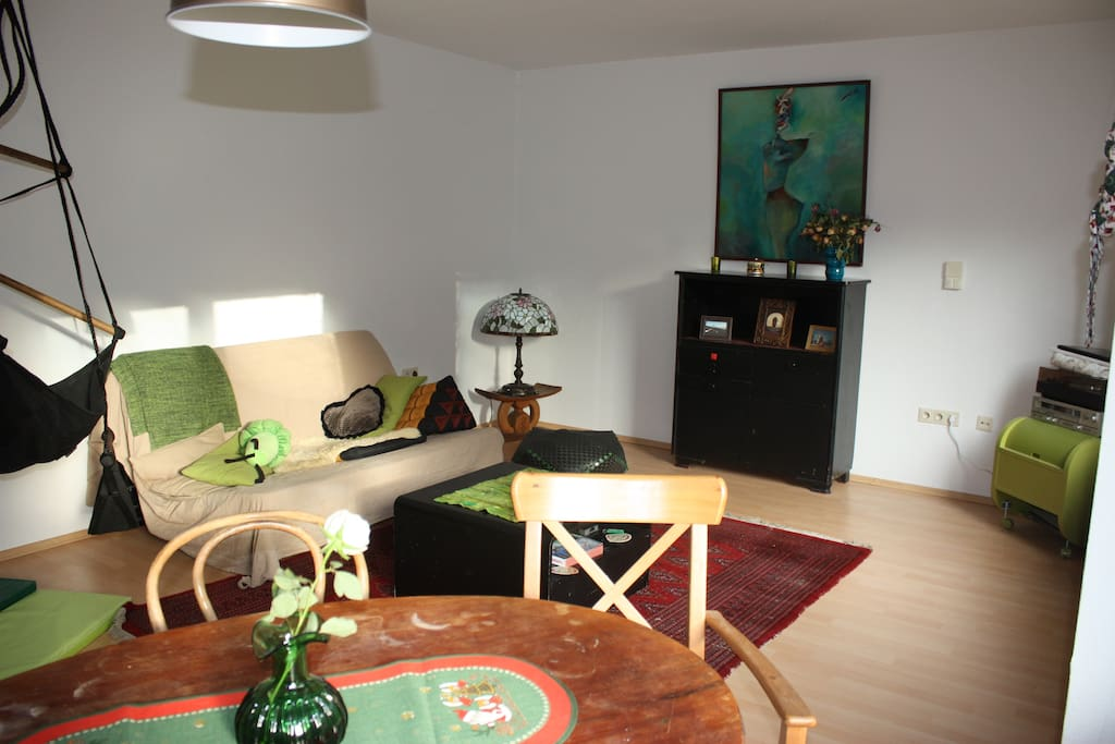 living room, the sofa opens to a 160 double bed.