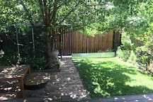 Backyard and outdoor dining area