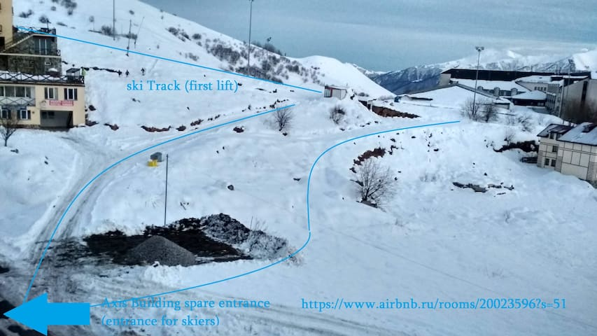 ski Track 50 m, with ski on go down  direct to the entrance :)