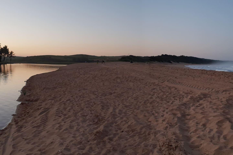 The beautiful lagoon and swimming beach at sunset