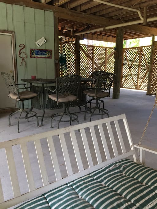 Patio and backyard are fenced to keep your little ones or fur friends safe.