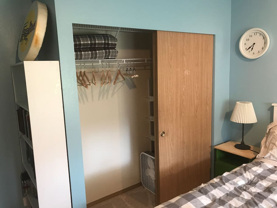 Closet for guests to use. There is a fan, heater, and extra blankets for your use as well.