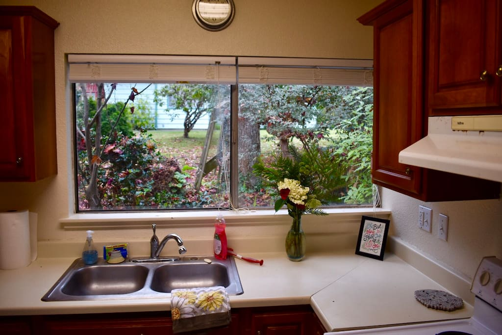 Look out at the greenery while in the kitchen