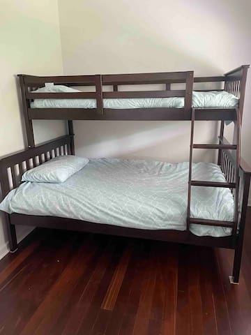We have a new bunk, with a double bed at the bottom and a single above.