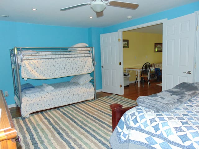 Downstairs Bedroom with Bunkbeds and Queen Bed.