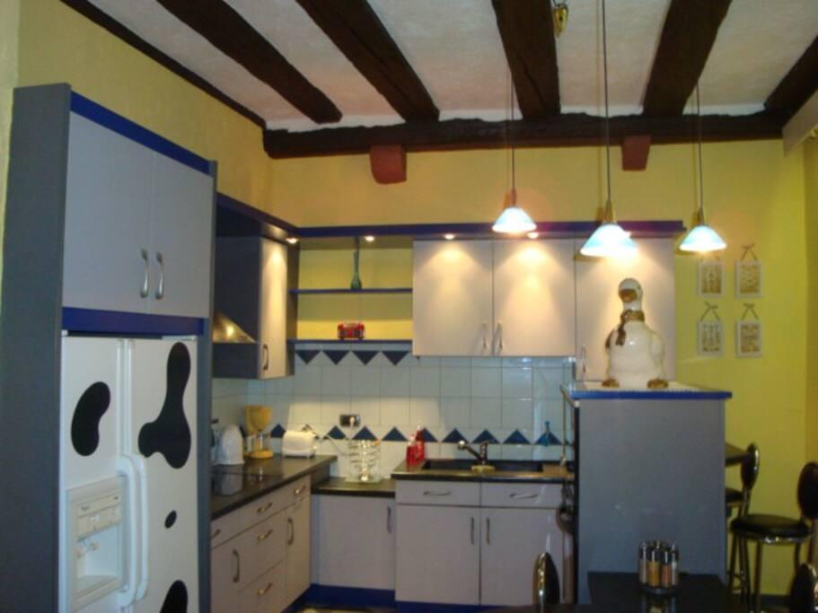 Cuisine équipée : Frigo Américain, plaque induction, hotte, lave vaisselle, four, micro-onde