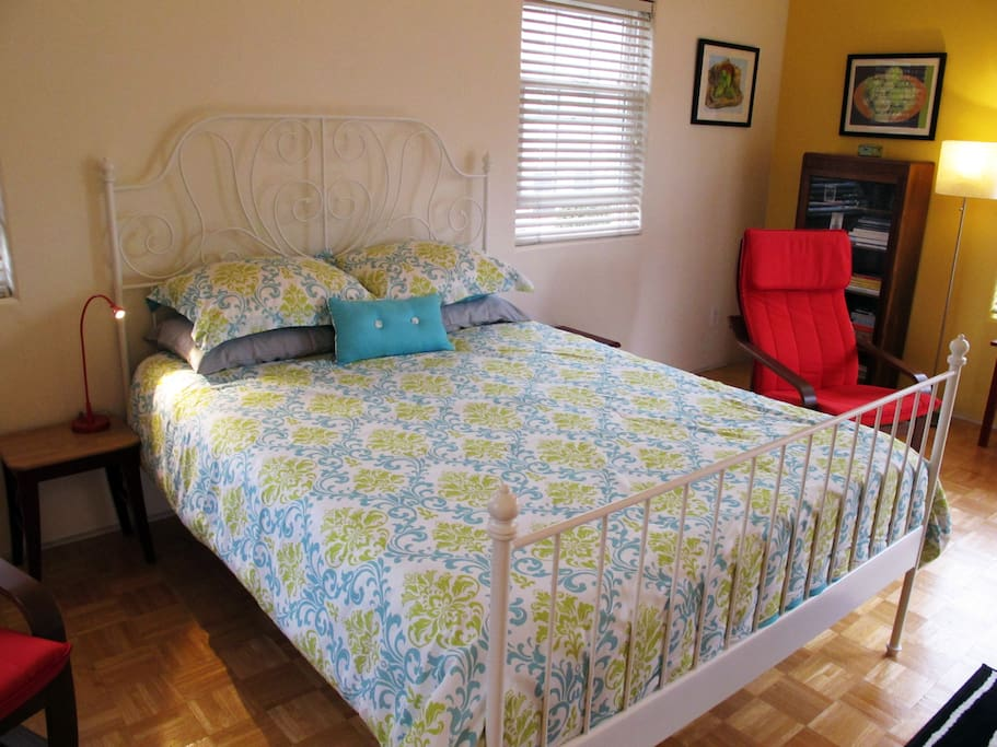 New queen size bed with new memory foam mattress.